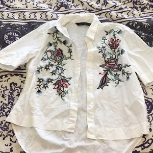 White Button Up with Flower Stitching